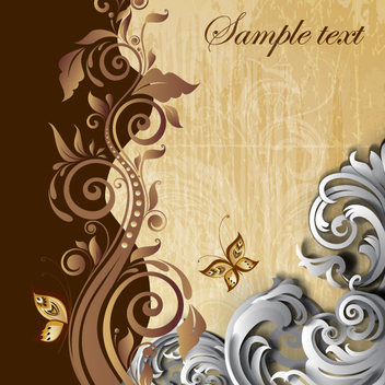 Classic Floral Swirl Background Vector - Free vector #202327