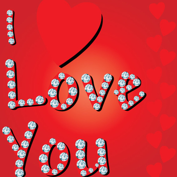 Diamond Studded Love Vector - Free vector #202437