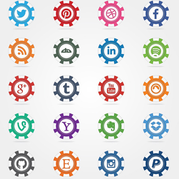 Social Poker Chips Vector Icons - Free vector #202707