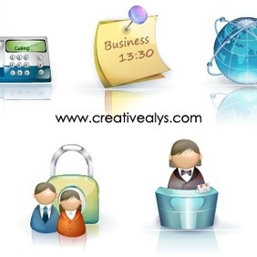 Beautiful 3D Business Icons - Free vector #202827