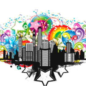 Urban City Rainbow Vector - Free vector #202967