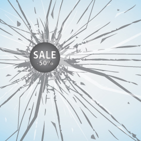 Sales Discount On Broken Glass - Free vector #203617