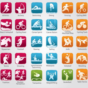 Olympic Sports Icons - Free vector #203727