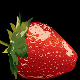 One Strawberry On Black Background - Kostenloses vector #204247