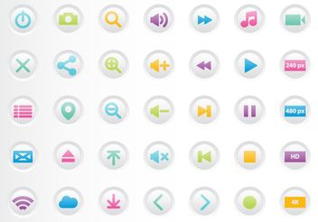 Colorful Media Player Buttons - Free vector #205117