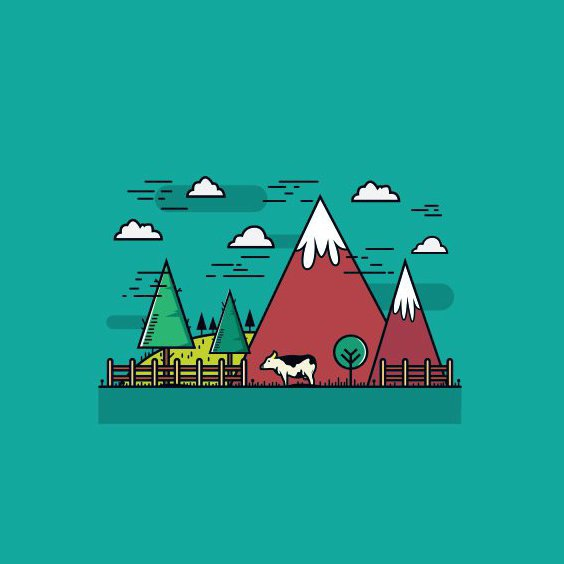 Flat Mountain Farm - Free vector #205227