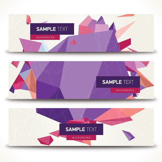 Geometric Banners - Free vector #205487