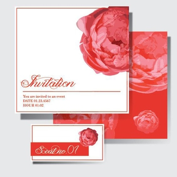 Red Wedding Invitation - vector #205647 gratis