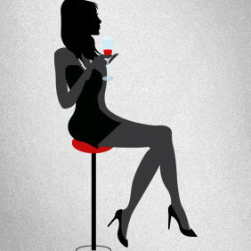Girl Drinking Wine - vector #206707 gratis