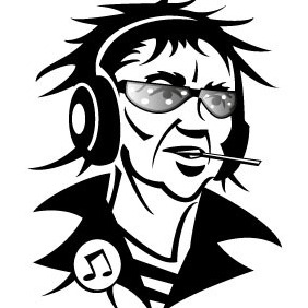 Man With Headphones Vector Image - vector gratuit #208227