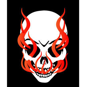 Skull In Flames Vector Illustration - Free vector #208547