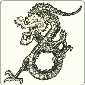 Japanese Dragon - vector gratuit #208847