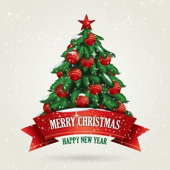 Snowing Christmas Card - Free vector #208897