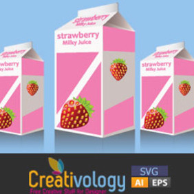 Free Vector Strawberry Milk Pack - Kostenloses vector #208987