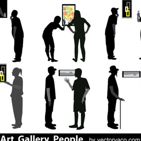 Art Gallery People Silhouettes - vector gratuit #209447
