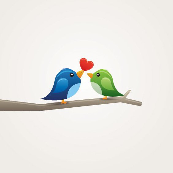 Birds in Love - Free vector #209857
