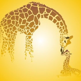 Giraffe Family - vector gratuit #210137