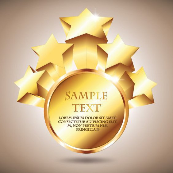 Emblema estrela dourada - Free vector #210157