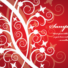 Red Flower Swirls Background - vector gratuit(e) #210167