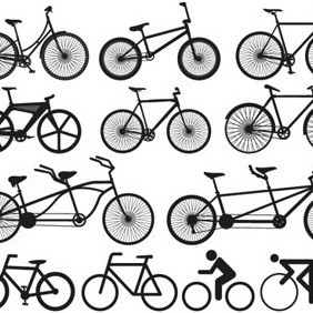 Bicycle Silhouettes - vector gratuit #210177