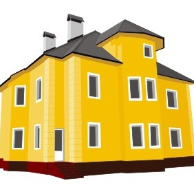 Yellow Cottage - Free vector #210277