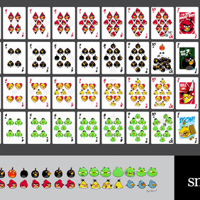 Angry Birds Playing Card Deck And Vector Characters - бесплатный vector #210457