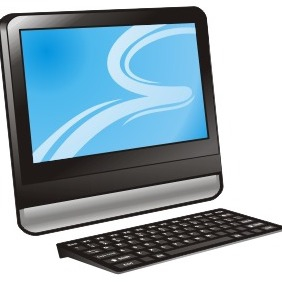 Computer With Blue Display - Free vector #211027