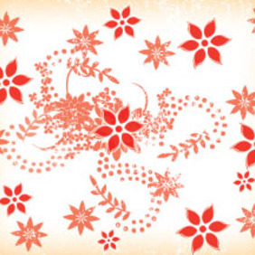 Grungy Red Flowers Free Vector Art - vector gratuit(e) #211177