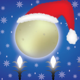 Christmas Moon With Santa Claus Hat - Free vector #211417