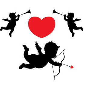 Cupid And Flying Angels - Free vector #211717