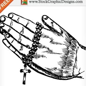 Hand Drawn Praying Hands Free Vector Illustration - Free vector #212007