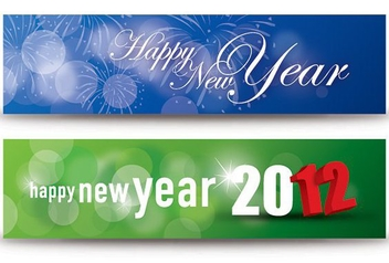 Happy New Year Banners - vector gratuit #212067