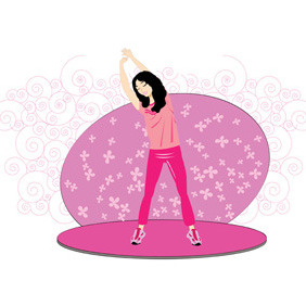 Young Woman Exercise - Free vector #212107
