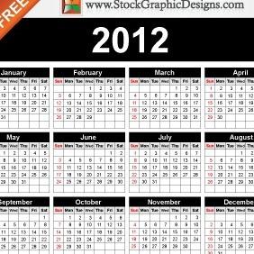 2012 Free Vector Calendar - Kostenloses vector #212177