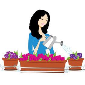 Women Gardening - vector gratuit #212307