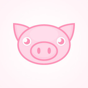 Cute Pink Pig - Free vector #212907