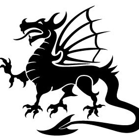 Dragon Black Vector Image - vector gratuit #213017
