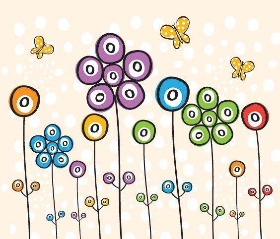 Spotty Flowers - Free vector #213107
