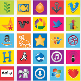 Social Network Icon Pack - vector #213587 gratis