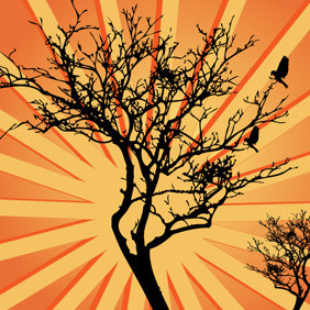 Sunburst Background Tree Vector - vector gratuit #214457
