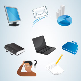 Various Office Vector Icons - vector #214467 gratis
