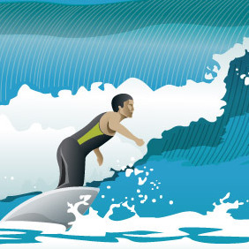 Surfing Waves - Free vector #214707