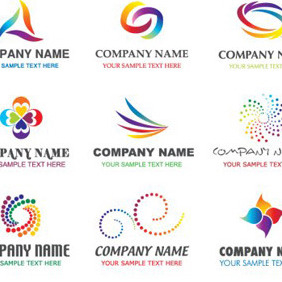 Abstract Logotypes In Rainbow Colors - Free vector #214747