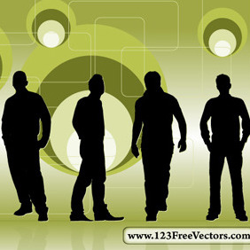 Retro Background With Men Silhouettes - vector gratuit #214897