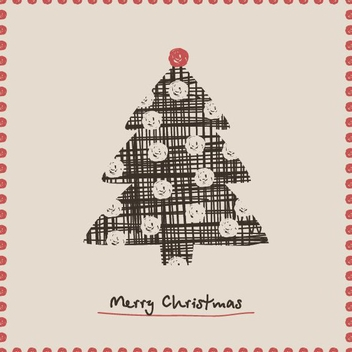 Christmas Tree Card - vector gratuit #214907