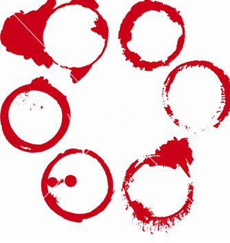Free set of 6 red round grunge ink wine stains vector - Free vector #214947