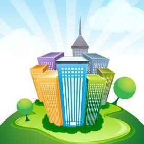 Corporate Buildings On Natural Background - Free vector #215967
