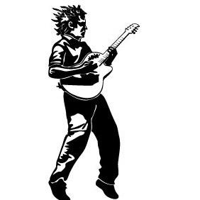 Guitar Player Vector Illustration - Free vector #217367