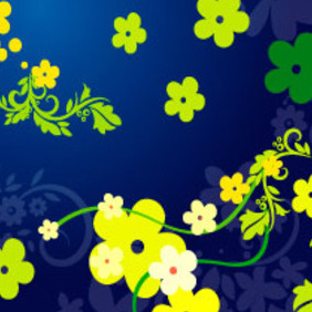 Floral Vector In Blue Background - vector gratuit #217427