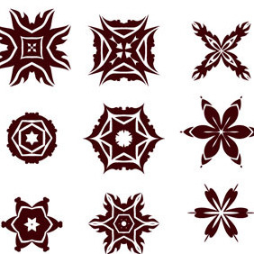 Decorative Radial Vector Elements Set - vector gratuit #217827